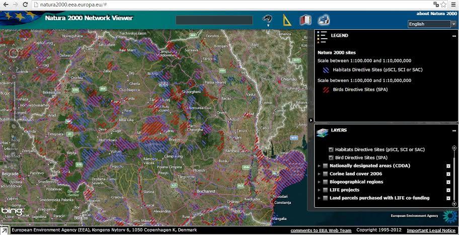 Harta Natura 2000 - Romania
