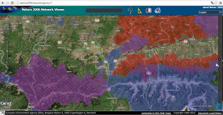 Harta Natura 2000 - Valea Oltului